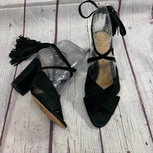 Schutz Black Suede Wraparound Ankle Tassle Straps